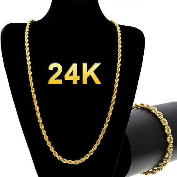 24k Gold Long Chain Necklace Men Jewelry Brand Gothic Gold Color Male Necklace Gifts(Size:18-30inch, 5mm)