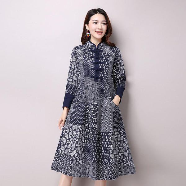 Autumn New Women\'s National Wind Casual Long Sleeve Cotton Linen Dress Plus  Size Long Linen Dresses Bule Color Floral Print