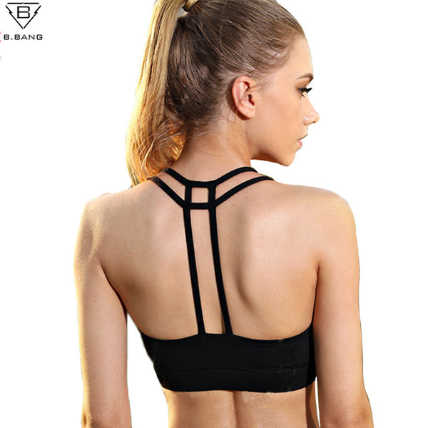 b70c35a1d5af8 ... B.BANG Sports Bra Women Fitness Tops Shakeproof Padded Yoga Bra Workout  Gym Bra Top ...