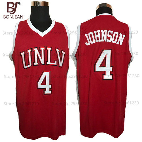 reputable site 63aea 93c2d BONJEAN Cheap 4# Larry Johnson UNLV 1989 Jersey Running Rebels Throwback  Shirt Stitched Red Mens Basketball Jersey