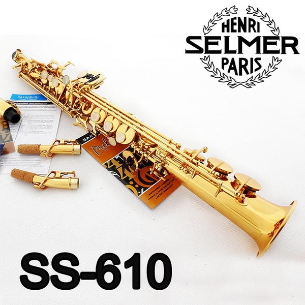 Brand New Conn Selmer Soprano Saxophone SS-610 Gold Lacquer Sax  Professional Mouthpiece Patches Pads Reeds Bend Neck