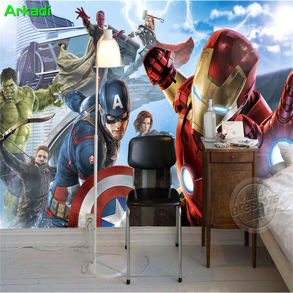 Custom 3d Captain America Avengers Boys Bedroom Photo Wallpapers