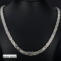 Davieslee Necklace for Men Flat Byzantine Link Silver Black Gold Chain Stainless Steel Wholesale Vintage Jewelry 6/8/11mm LKNM22