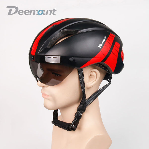 Cycling Helmet Bicycle MTB Mountain Road Biking Safety Cap With Goggle Lens
