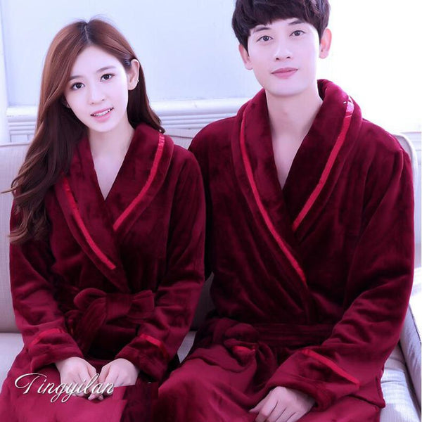 2a90d94d84 Dressing Gowns For Women And Men Bath Robes Nightgown Winter Warm Flannel  Pajamas Couples Bathrobe Kimono ...