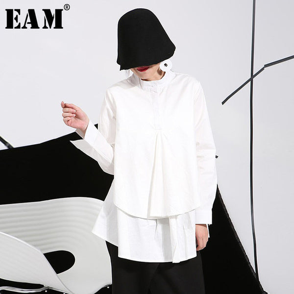 14e0bf767dfe9  EAM  2018 spring plus size long shirts women blouses Long-sleeve white  loose ...