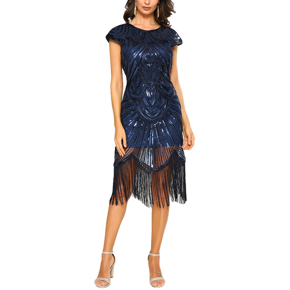 Female Great Gatsby Dress Women Tassel Sequined Gown Party ...
