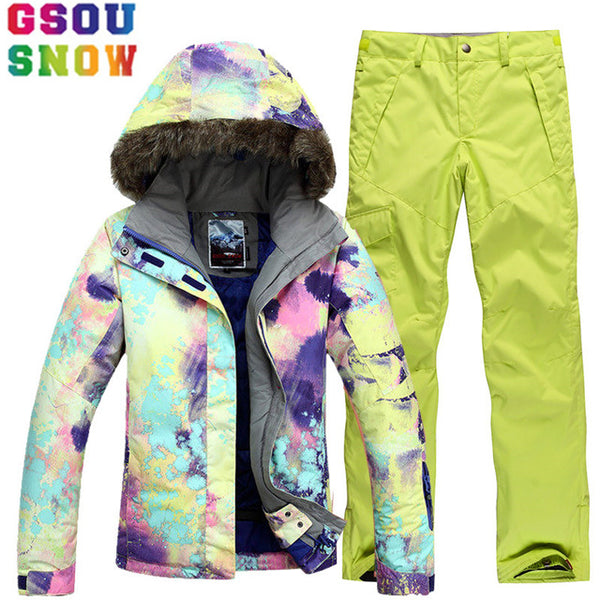 87a605bbee GSOU SNOW Brand Ski Suit Women Ski Jacket Snowboard Pants Winter Mountain  Skiing Suits Female Waterproof ...