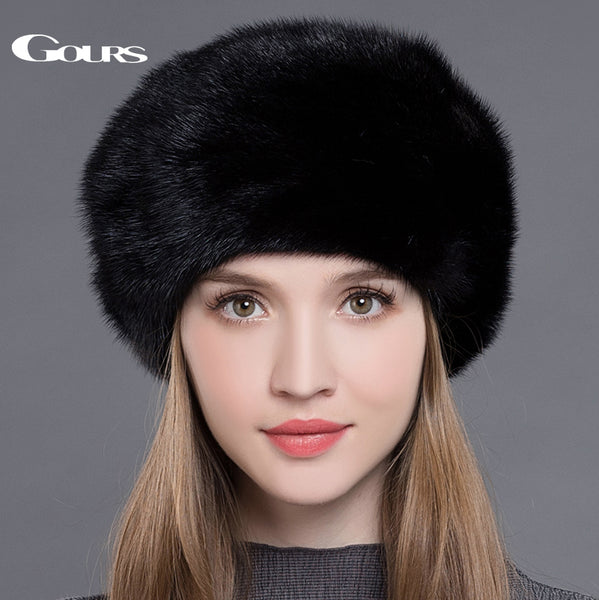 9ac3e7b68 Gours Women's Fur Hats Whole Real Mink Fur Hats Thick Warm In ...