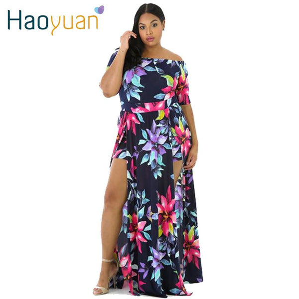 HAOYUAN M-3XL Big Plus Size Off Shoulder Maxi Dress 2017 New Floral ...