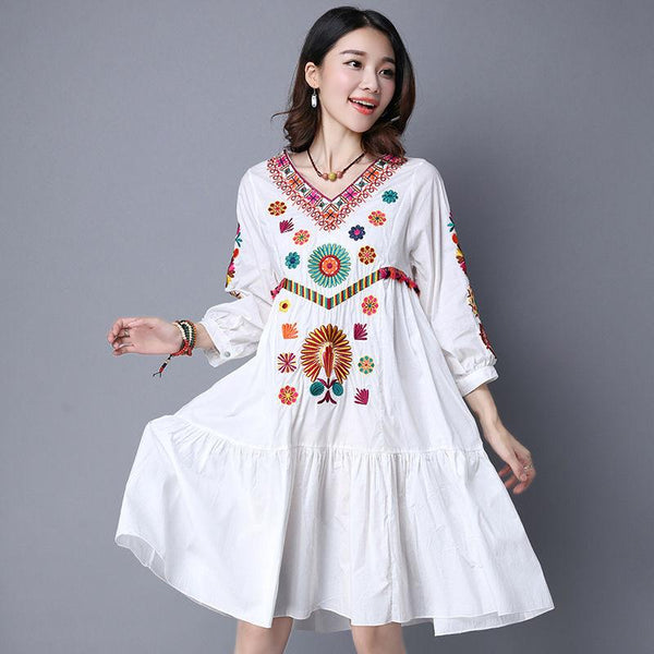 a820df3dfa8ee Hot Sale Vintage 70s Mexican Boho Hippie Floral Embroidered Ethnic ...