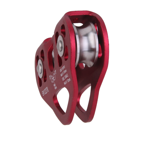 Wine Red Rock Climbing Equipment Double Trolley Pulley Rope 13mm 24KN