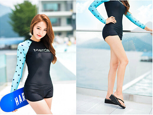 ... Hot selling 2017 women sexy Rash Guards with Long Sleeves lady two  pieces swimwear swimsuit wetsuit ... 0deb18c9a
