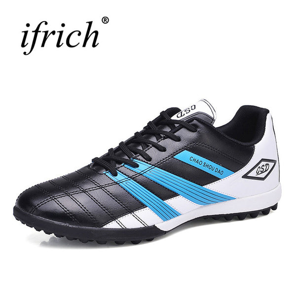 9dca14f53 ... Ifrich Soccer Shoes Man Kids Football Boots Black Blue Turf Soccer  Cleats Football Indoor Sneakers Leather ...