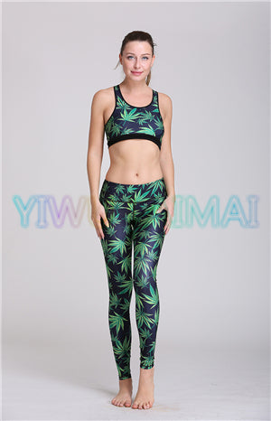 48930fed44922 JIGERJOGER Green leaves Yoga Sets clothing fitness workout pant Sublimation  women s sports bra running legging set