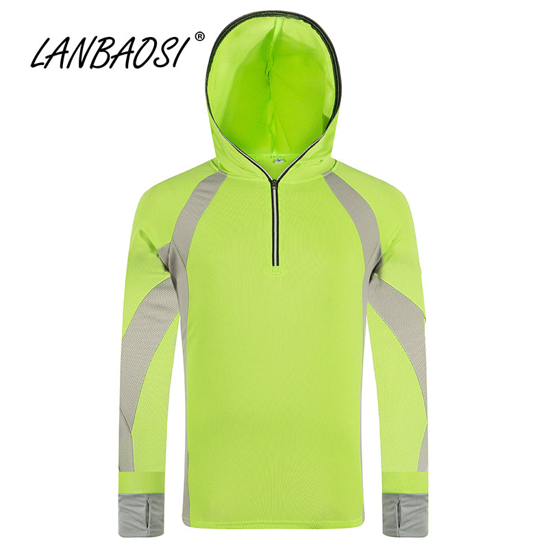 Long Sleeve Fishing Clothing Sun UV Protection Shirt Hooded Quick-Dry Breathable