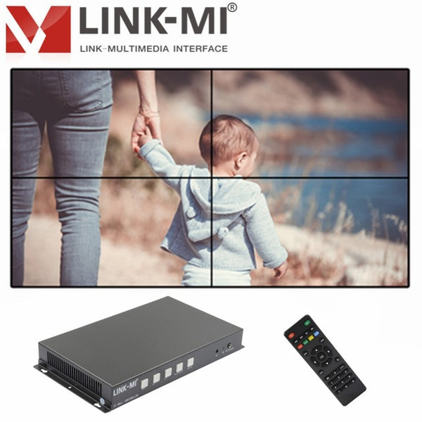 LINK-MI TV04S 2x2 Video Wall Controller USB/HDMI processor 4TV shows a  screen splicing For LED/LCD Display Edge shielding