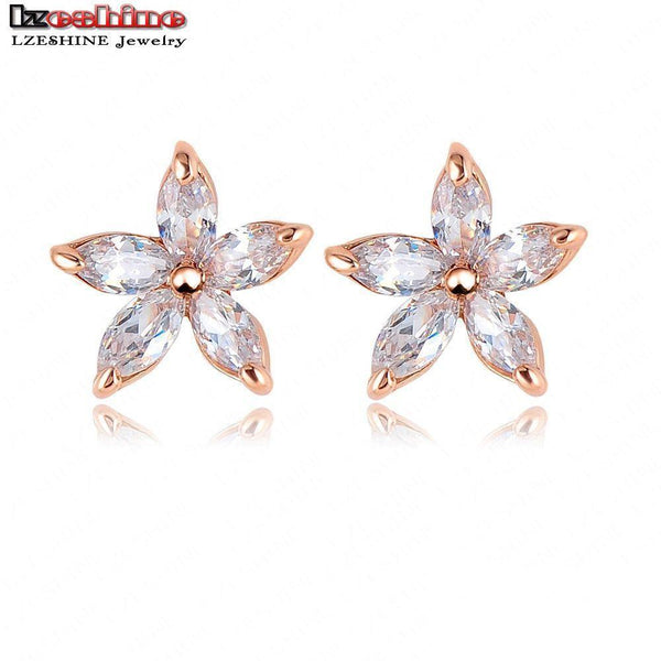 c4ab9e08564f LZESHINE Small Stud Earrings Rose Gold Color SWA Elements Austrian Crystal  Five Leaves Flower Earring