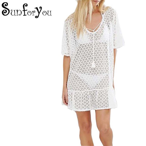 f7c060a54d Lace Swimsuit Cover up Sexy Beach Tunic Pareos Bathing suit Cover ups 2018  New Tassel top