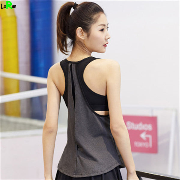 3a311e52f7904a ... LoRun Sexy Yoga Shirt With Bra Women Loose Sleeveless Sport Vest Tights  Quickly Dry Fitness Gym ...