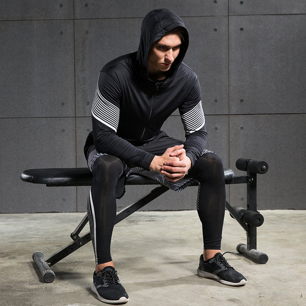 498813da19a ... Men s Compression Running Suits Three Clothes Sports Set Jackets Shorts  and Pants Joggers Gym Fitness Compression ...