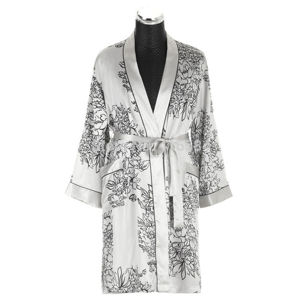 Mens Silk Kimono Robe Satin Dressing Gown Men\'s Bathrobe Men ...
