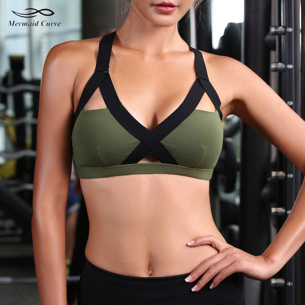 6149908207 Mermaid Curve 2018 New Women s Gym Fitness Yoga Top Bra Popular Sports Bras  girls Push Up ...