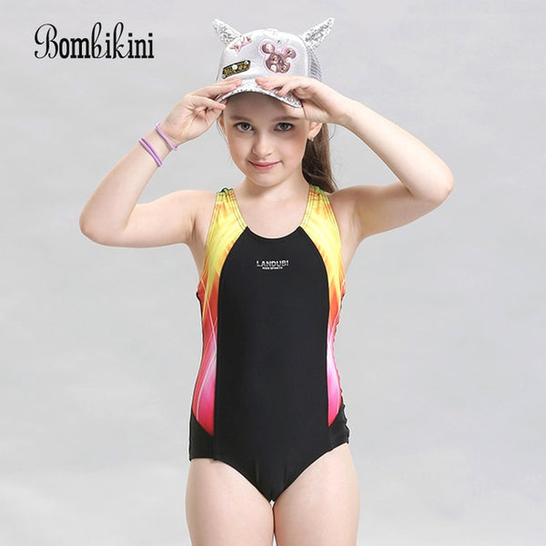 2ca2566652 Multicolor Striped Patchwork One Piece Swimsuit New Girls Athletic Swimwear  Backless Sport Bodysuit Quick Dry Kids ...