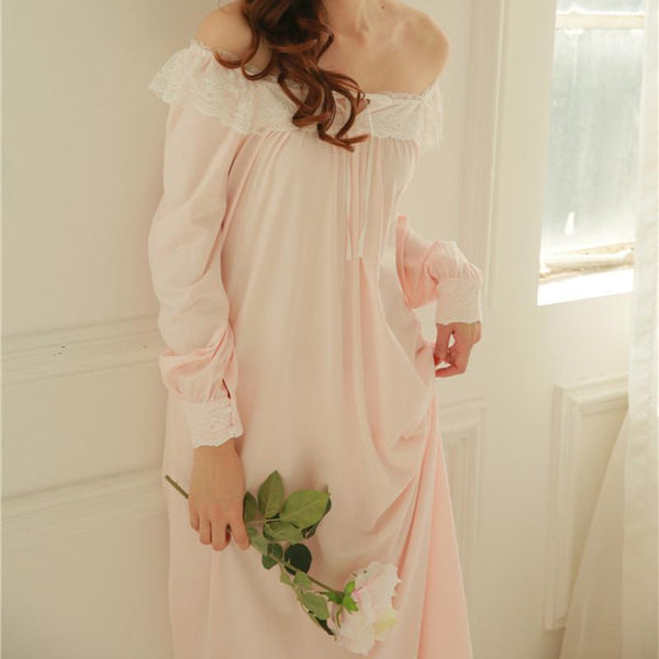 ... New Arrivals Lace Nightgowns Sleepshirts Solid Sleepwear Sexy Nightgown  Female Soft Home Dress Vintage Long Nightgown ... 4dd35f037