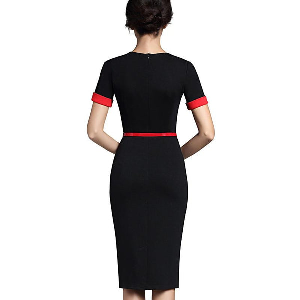 ... Nice-forever Classic Patchwork Short Sleeve Mature Stylish Casual Work  Leaf Neck Bodycon Women Office ...