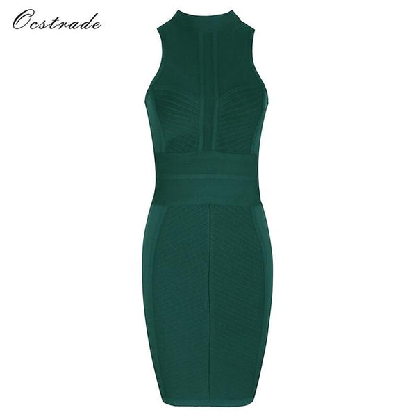... Ocstrade Bodycon Dress Sexy Party Mini Dress for Women 2017 New Arrival  Camel High Neck Sheer eb2ac65b764c