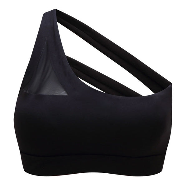 89a8cd184b494 Oyoo Best Quality One-shoulder Push Up Sports Bra Sexy Cross Back Strappy  Athletic Bra