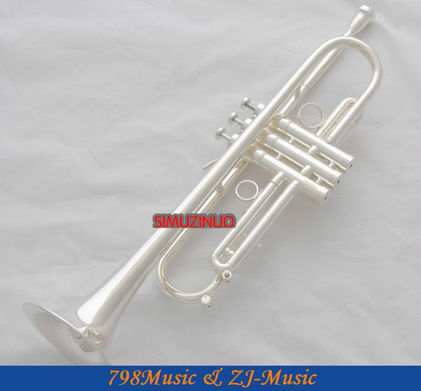Professional New Silver Plated Trumpet Bb Keys With Monel valves Horn Case