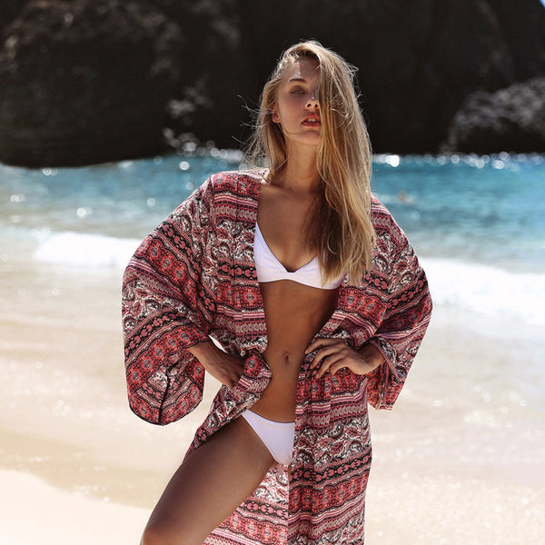 39db8045e897a ... Puseky New Arrivals Beach Cover up Floral Romantic Swimwear Ladies  Pareo Beach Cape Sun Bath Beach