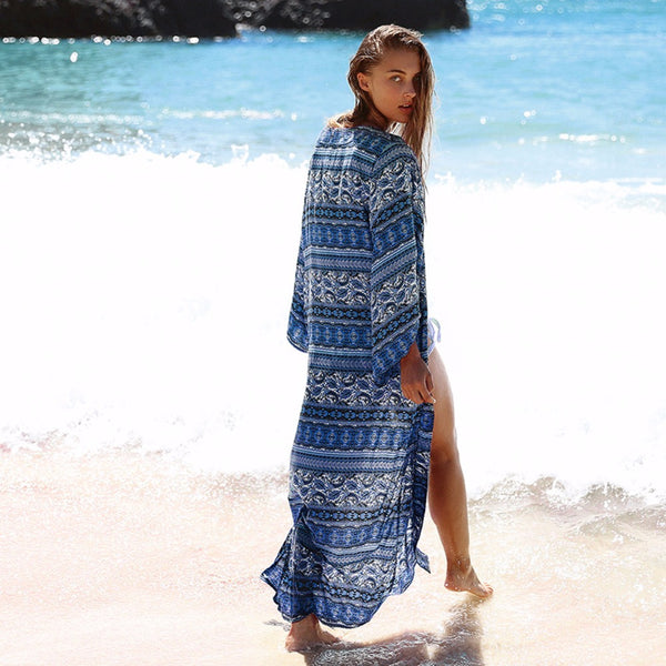 b2b4ebd2339a0 ... Puseky New Arrivals Beach Cover up Floral Romantic Swimwear Ladies  Pareo Beach Cape Sun Bath Beach ...