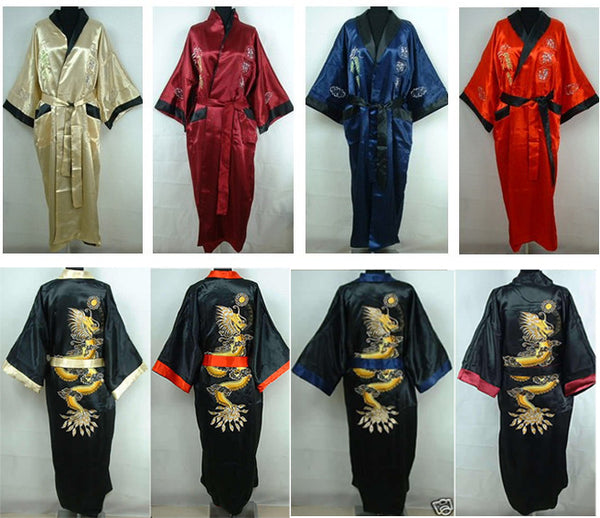 ... Red-Black Chinese Style Men s Double-Face Reversible Kimono Robe Gown  Embroidery Dragon e2358d29b