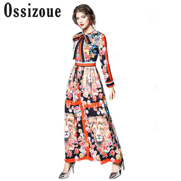 ... Runway Dresses 2018 Women High Quality Bow Neck Vintage Animal Print  Party Dresses Designer Long Maxi ... 9819c35b26ed