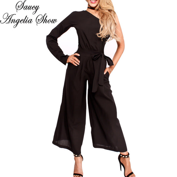 204d1f1ec390 SAUCY ANGELIA Rompers Womens Jumpsuit Sexy Irregula One Shoulder Bodysuits  Slimming Waist Party Overalls Stretchy Playsuits ...