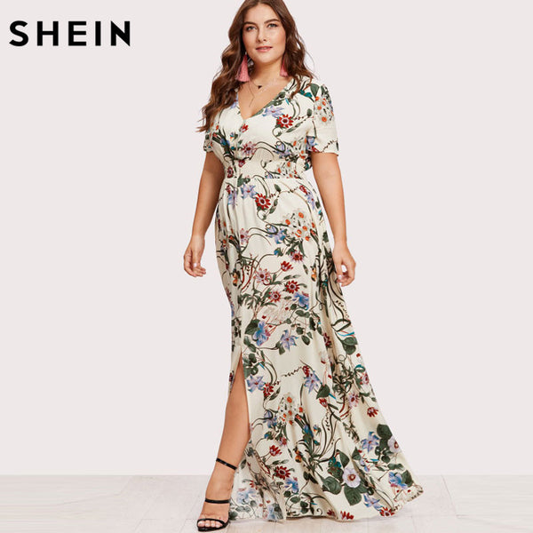 7a1ced7724 ... SHEIN Floral Plus Size Women Dress White Slit Button Up Front Maxi  Dresses Large Sizes A ...