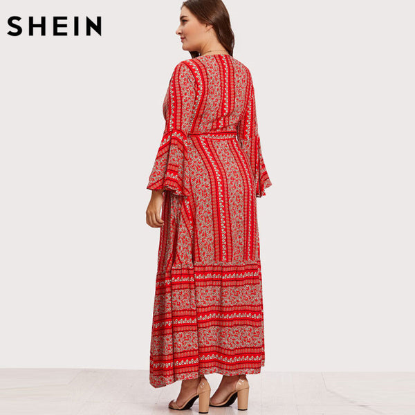 8a3bfb5c679 ... SHEIN V-neck Red Plus Size Women Maxi Dress Flounce Sleeve Ditsy Print  Wrap Dresses