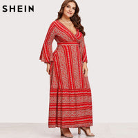 ed2fc087212 SHEIN V-neck Red Plus Size Women Maxi Dress Flounce Sleeve Ditsy Print Wrap  Dresses