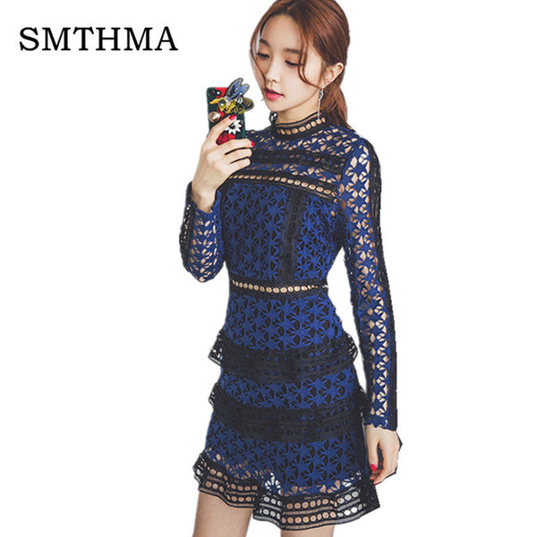 39163a43cca5 ... SMTHMA HIGH QUALITY Newest 2018 Summer Self Portrait Dress Women's Long  Sleeve Hollow Out Cascading Lace ...