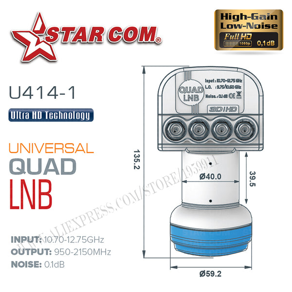 STAR COM Universal QUAD LNB For Satellite TV Receiver KU BAND LNB For Satellite