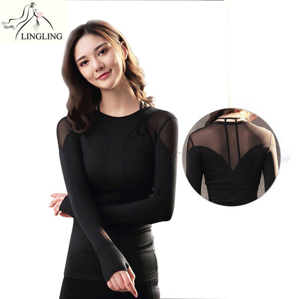 best website provide large selection of dirt cheap Sexy Women Yoga Shirts Long Sleeve Gym Shirts Fitness Clothing Shirt Female  Sports Tops Women Yoga Top Women Sport Shirt Black