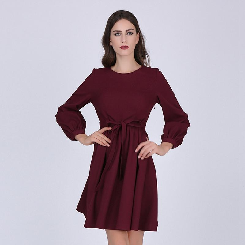 7d2460c2da88 Sisjuly women casual 2017 spring dress burgundy office long sleeves a- –  Thekingwarehouse