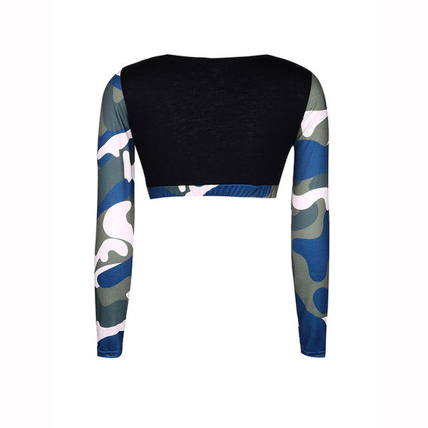 Spring Autumn Womens Camouflage Long Sleeve Workout Fitness Bodycon