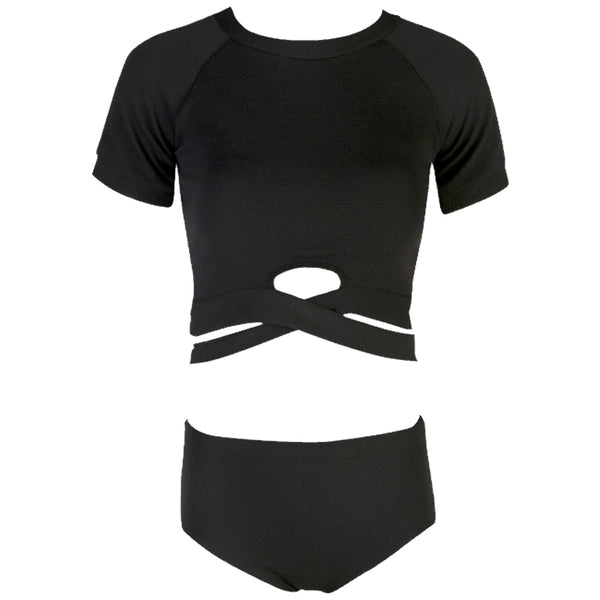 456a91dfdc2dfd ... Summer New Style Women Sexy Solid Knitted Swimsuit Black Top Bikini Set  Two Pieces Swimsuit Beach ...