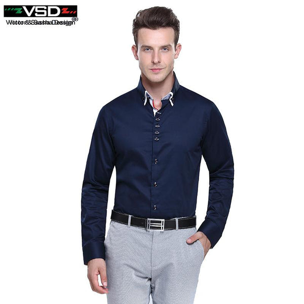 huge selection of 790d6 4566c Top Sale Italian 7 Camicie Style Double Collar Dress Fashion Slim fit Long  Sleeve Premium Cotton Shirting Men's Shirt Brand VSD