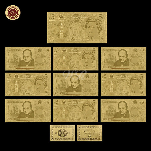 WR 24k Pure Gold Banknote Quality 5 Pound Fake Money Business Souvenir  Gifts Currency Bill Note Art Crafts Value Collection
