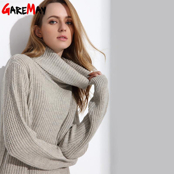 8ef3cb5573 ... Women Long Sweater Turtleneck Young Ladies Fashion Autumn Winter Retro  Pullover Thick Knit Sweater For Women ...